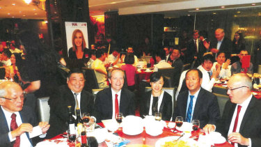 Labor's 2015 fundraising dinner at the Emperor's Garden Restaurant in Chinatown. Pictured are Ernest Wong, second from left; Bill Shorten, third from left; Huang Xiangmo, second from right; and Luke Foley, far right.
