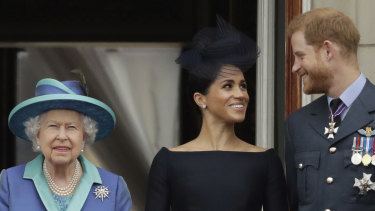 The Queen, the Duchess of Sussex and the Duke of Sussex in 2018.