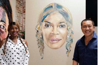 Anh Do with Marcia Hines and the portrait he painted of the singer for Brush With Fame.