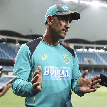 Justin Langer addresses the media in a scene in The Test.