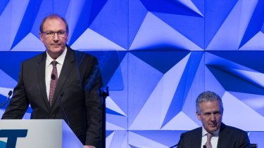 Telstra chairman John Mullen  (left) and chief executive Andy Penn