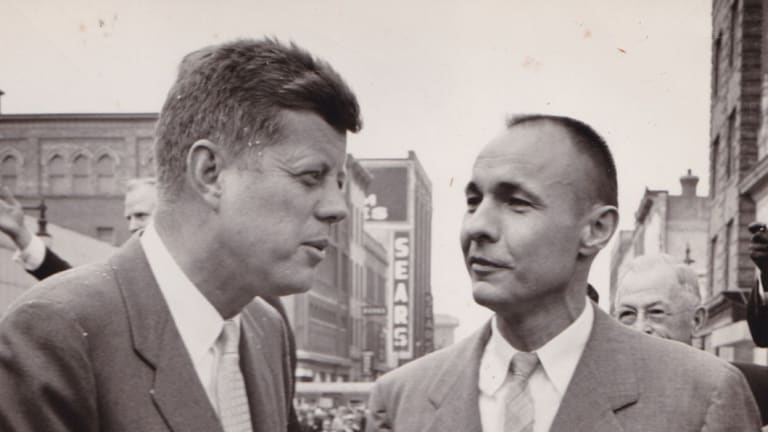 Then-presidential candidate John F. Kennedy is pictured in 1960 with William 'Bud' Liebenow.