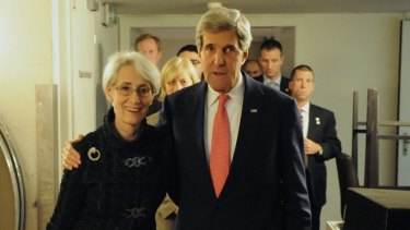 The lead negotiator on the Iran nuclear deal, Wendy Sherman, with the then US secretary of state John Kerry.
