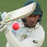 Usman Khawaja survived to be 37 not out.