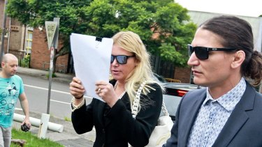 Lizzie Buttrose at Waverley Local Court when she faced charges of threatening her son, Andrew Spira.