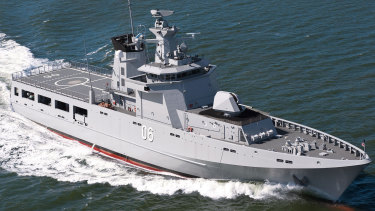 An Offshore Patrol Vessel (OPV) designed by Luerssen, which will be built by Civmec.