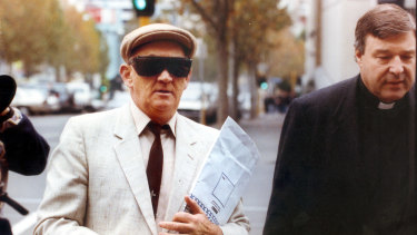 George Pell, at the time a bishop in Melbourne,  walked fellow paedophile Gerald Ridsdale into court in Warrnambool in 1993.