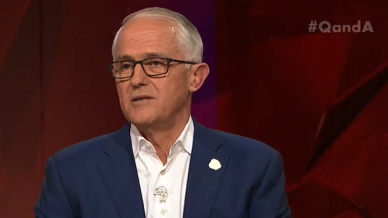 Former PM Malcolm Turnbull appears on a special Q&A.