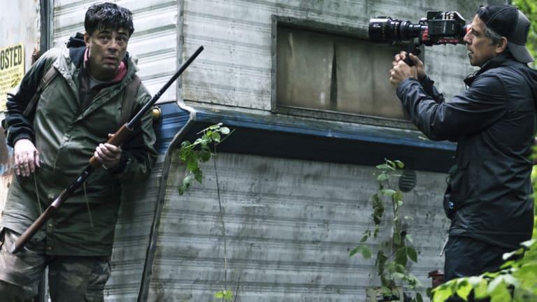 Actor Benicio del Toro and director Ben Stiller on the set of Escape at Dannemora.