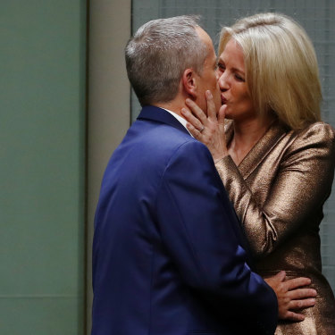 Chloe congratulates her husband following his Budget reply speech at Parliament House in 2017.