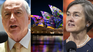 Alan Jones and Louise Herron have butted heads on air over the promotion of the Everest horse race on the sails of the Sydney Opera House.
