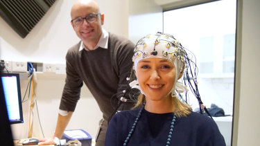 Testing attention and working memory via EEG: Shannon Harvey with Jonathan Davies from the University of Sydney.
