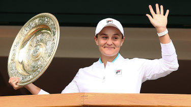 Barty soaks up applause from the Wimbledon gallery.