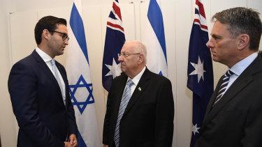 Labor MP Josh Burns and Deputy Opposition Leader Richard Marles meet with Israel president Reuven Rivlin.