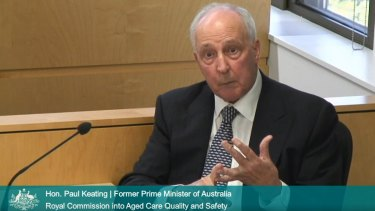 Former prime minister Paul Keating testifies before the aged-care royal commission.