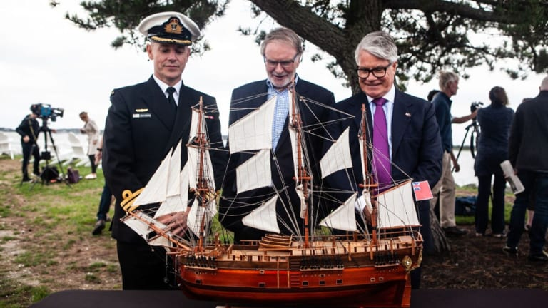 Australian Navy Commander Doug Theobold, Australian National Maritime Museum chair Peter Dexter and Australia's Consul-General to New York with a replica of the Endeavour