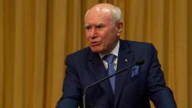 Former prime minister John Howard speaking at the Australian Institute for Progress event.