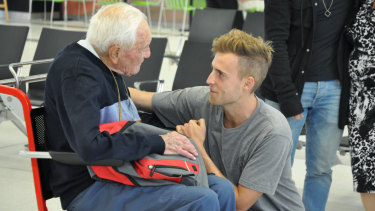 Professor Goodall farewells his grandson at Perth Airport last week.