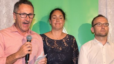Alex Bhathal on the night of her defeat at last year's Batman byelection, with party leader Richard Di Natale and Melbourne MP Adam Bandt.