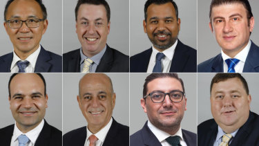The City of Parramatta councillors who voted for Mark Stapleton. From left, top: Paul Han, Andrew Jefferies, Sameer Pandey, Benjamin Barrak. Bottom: Martin Zaiter, Pierre Esber, Steven Issa, Bill Tyrrell.