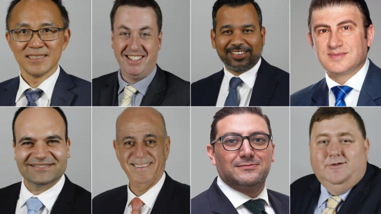 The City of Parramatta councillors who voted for Mark Stapleton. From left, top: Paul Han, Andrew Jefferies, Sameer Pandey,Benjamin Barrak. Bottom:Martin Zaiter,Pierre Esber, Steven Issa,Bill Tyrrell.