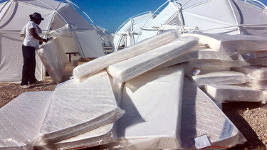Mattress and tents that were set up for attendees of Fyre Festival in April 2017 in the Exuma islands, Bahamas.