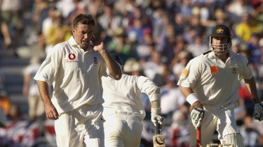 Silverwood (left) in his playing days, during the 2002 Ashes series against Australia in Perth.