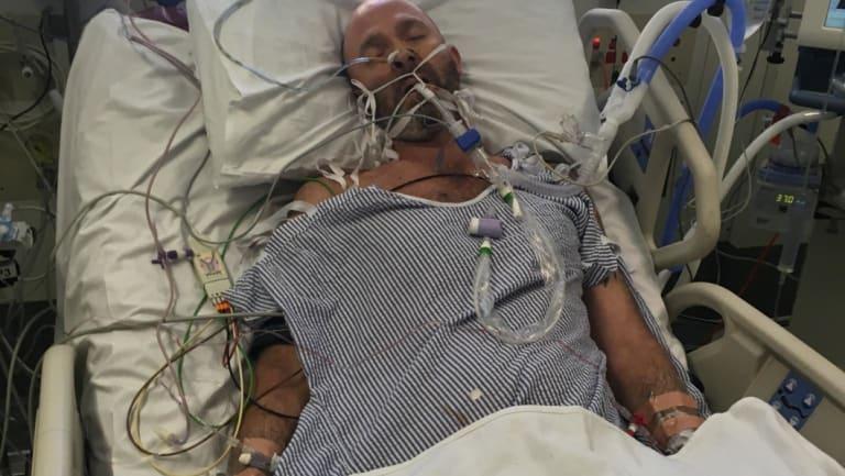 Adam Wells in hospital after contracting influenza.