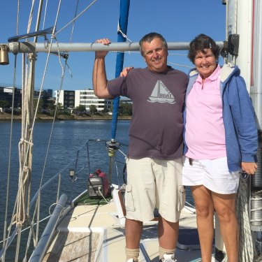Conn Williamson and Kirsty Watson aboard the SV Jasmyn on Blue - presently nestled on the Brisbane River ... for now.