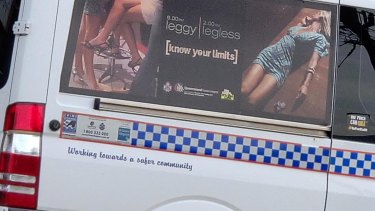 A Queensland police vehicle with a campaign from the 2000s was seen at a depot.