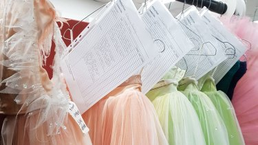 Tutus that were hand dyed for Queensland Ballet's The Sleeping Beauty.