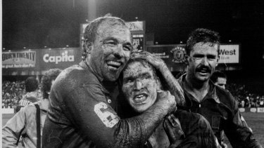Wally Lewis and Allan Langer embrace after a game in 1987.