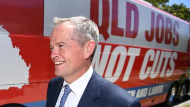 "Labor leader Bill Shorten said the $1 billion hydrogen plan will create ""jobs, jobs, secure jobs"" in Queensland."