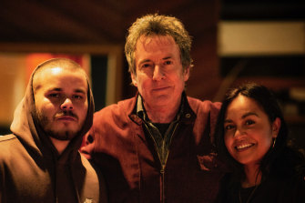 Tasman Keith, Rob Hirst and Jessica Mauboy working on the Midnight Oil album.