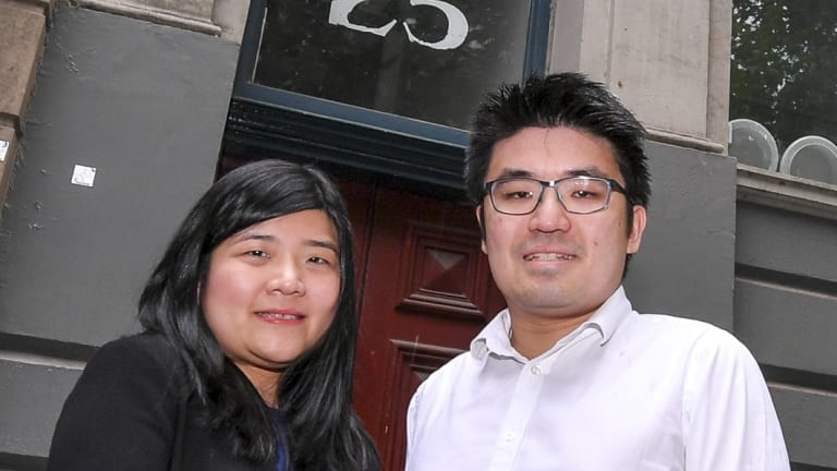 Brother and sister developers Rachel and Kelvin Taing outside their King Street building.