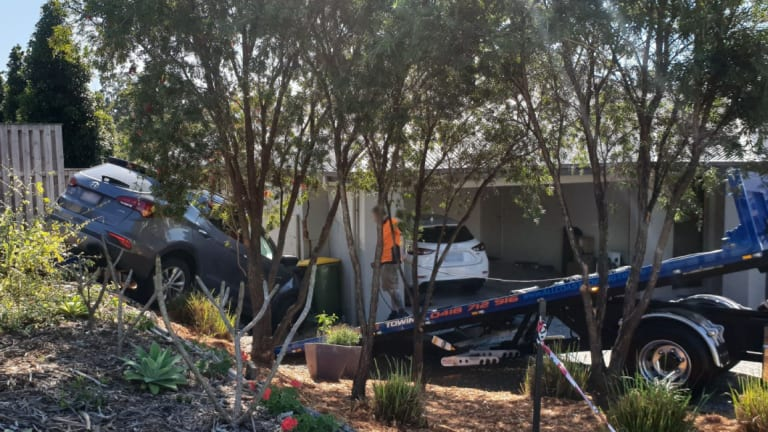 A car crashed into a house in Upper Coomera on Monday morning.