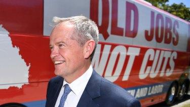 "Labor leader Bill Shorten said the $1 billion hydrogen plan will create ""jobs, jobs, secure jobs"" in Queensland."