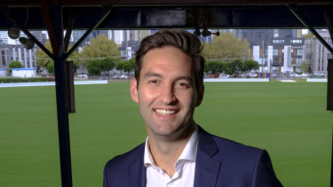 New Labor MP Josh Burns at the Port Melbourne football ground