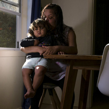 Jane Williams with her youngest son, two-year-old Ewan, at her home in Lismore.