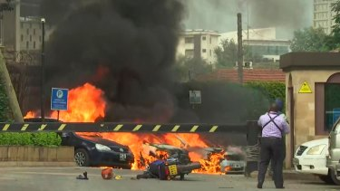 This frame taken from video shows a scene of an explosion in Kenya's capital, Nairobi, during the terror attack.