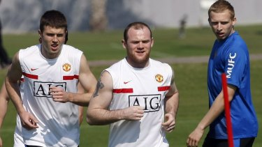 Ritchie De Laet (right) in his Manchester United days with Michael Carrick and Wayne Rooney.