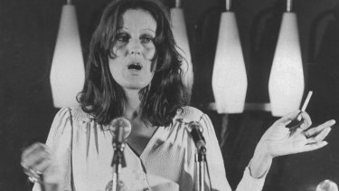 Germaine Greer addresses the National Press Club in Canberra in the 1970s.