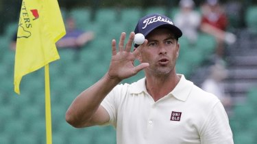 Adam Scott salutes after his back nine eagle.