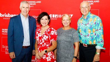 Left to right: Queensland Museum chief executive Dr Jim Thompson, Arts Minister Leeanne Enoch, Brisbane Deputy Mayor Cr Krista Adams and Dr Karl Kruszelnicki at the WorldScienceFestival Brisbane 2021 launch.