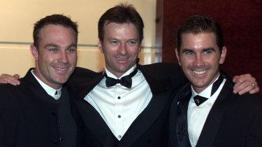 Michael Slater, Steve Waugh and Justin Langer at the 2001 Allan Border Medal.