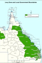 The proposed zones where the Queensland waste levy would apply.
