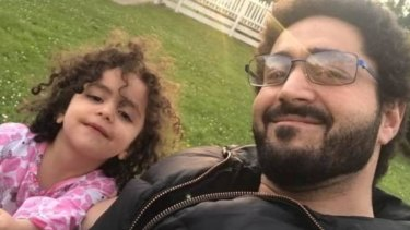 Alen Daraghmih, left, with father Wasseim Alsati. The young girl doesn't recognise her parents, he says.