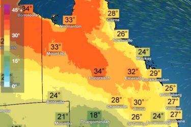 Maps of Queensland's temperatures and rainfall for the rest of this week.
