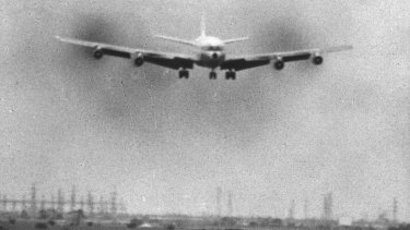 A QANTAS Boeing 707 comes in to land at Tullamarine soon after its opening.