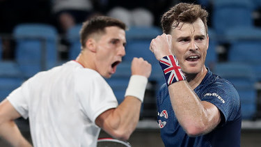 Double bonus: Jamie Murray (right) and Joe Salisbury won the deciding rubber for Great Britain to seal the tie against Belgium 2-1.